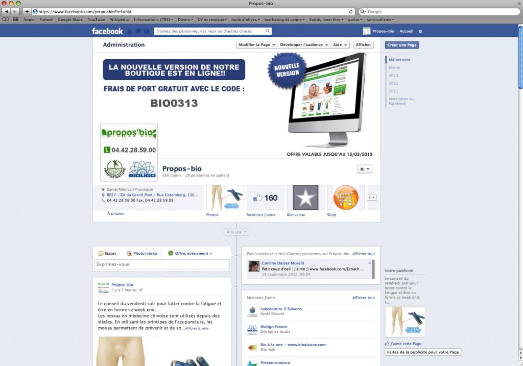 Fan page facebook propos bio