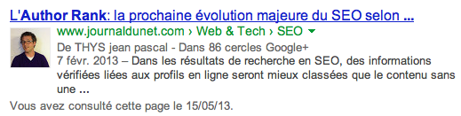 Rich Snippet avec authorship