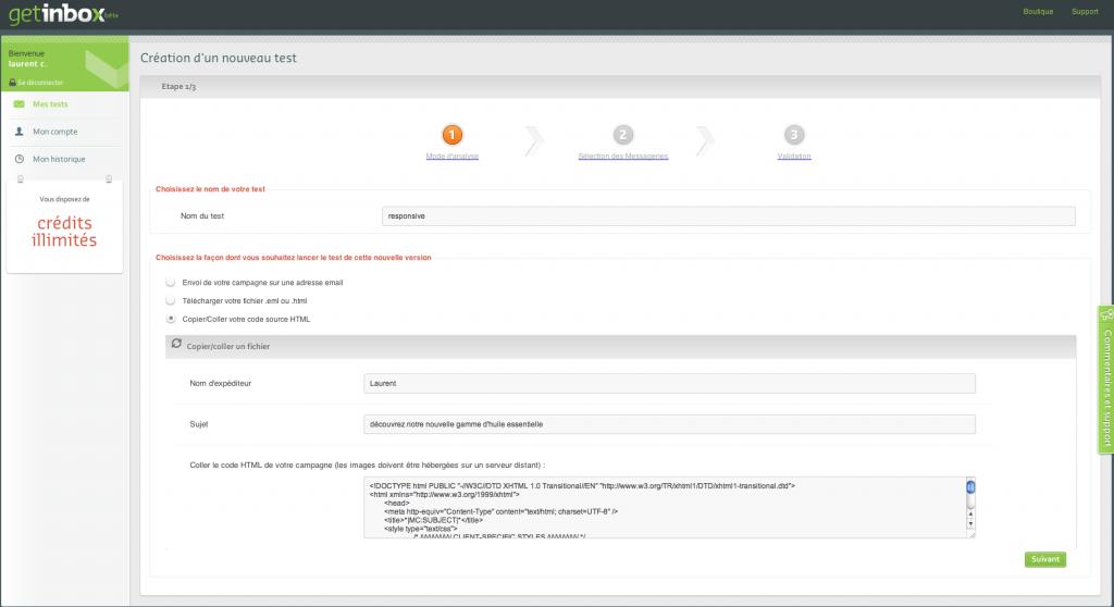 Getinbox: interface utilisateur