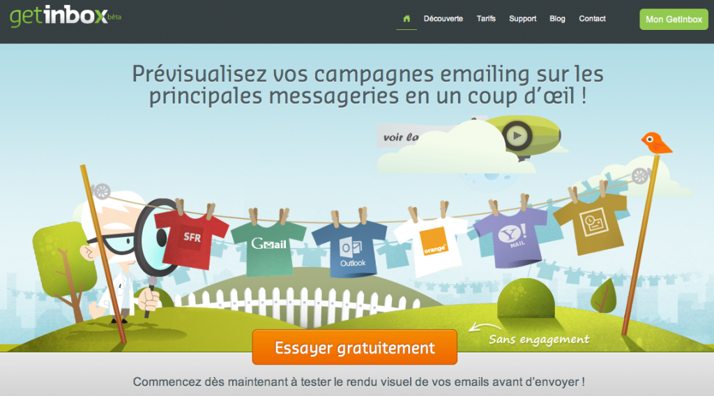 Getinbox: prévisualisation d'emailing